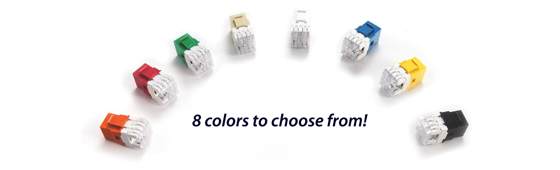 An array of variously-colored RJ45 jacks